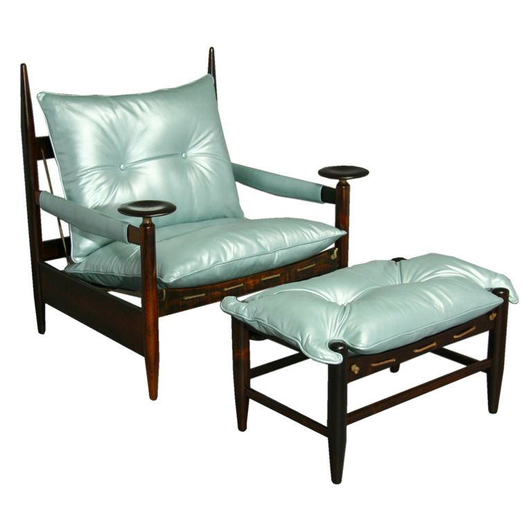 Best Rosewood And Metallic Blue Leather Arm Chair And Ottoman 400 x 300