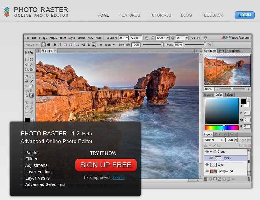 Photo Raster Advanced Online Photo Editor. Online