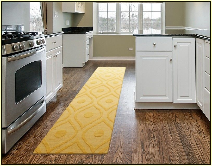Yellow Kitchen Runner Rug In Modern Kitchen With Images Modern