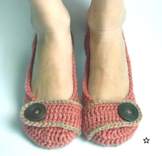 Crochet Womens Slippers Flats House Shoes  Country Rose  Made to Order