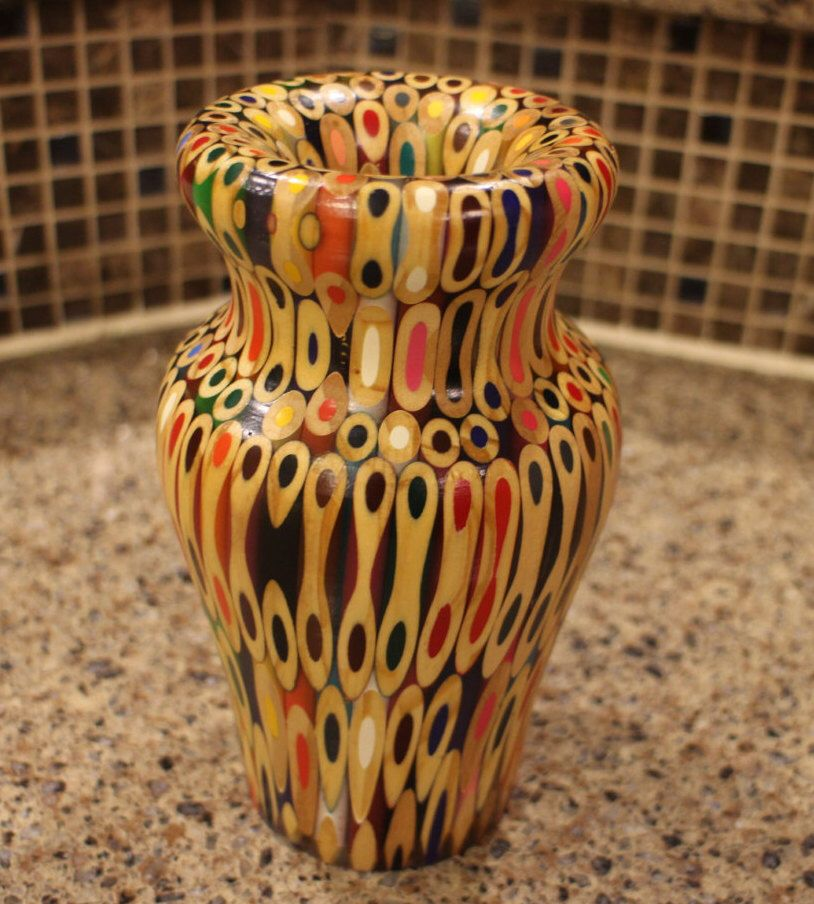 Colored Pencil Vase By Grovebound On Etsy Httpsetsy