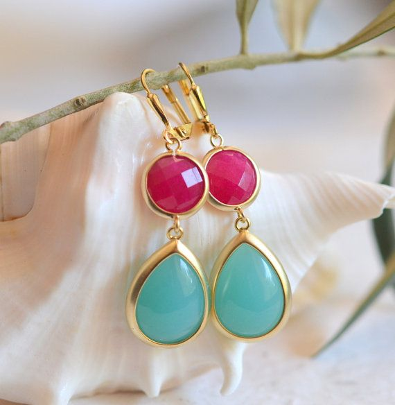 Statement Jewel Dangle Earrings with Turquoise Teal Drop and Fuchsia Jewels in Gold. Dangle Earrings. Statement Earrings. Modern Jewelry.