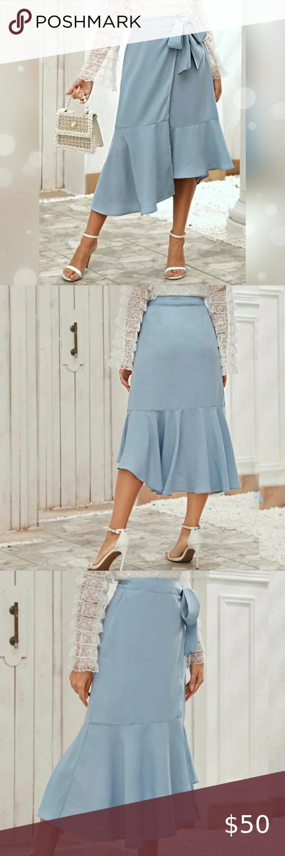 Tie Front Asymmetrical Ruffle Hem Wrap Skirt XL Ti