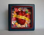Love Shrine- Mexican Folk Art- Heart / Corazon- Valentine's Gift -  Shadowbox