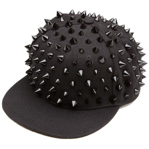 BLACK HELL RAISER SPIKED SNAPBACK CAP ( 14) ❤ liked on Polyvore featuring  accessories 2e03457f9f3