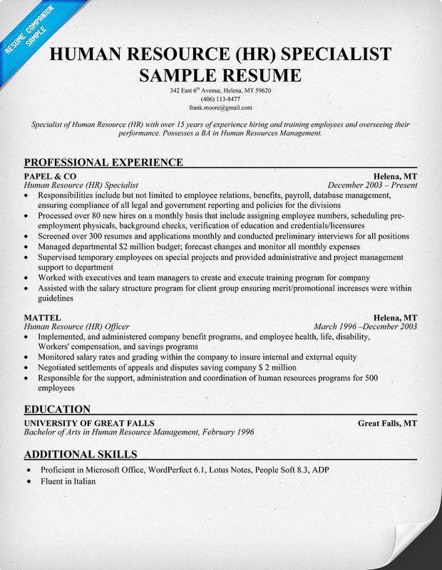 Free Human Resource Hr Specialist Resume Resume Human Resources Resume Human Resources Resume Tips