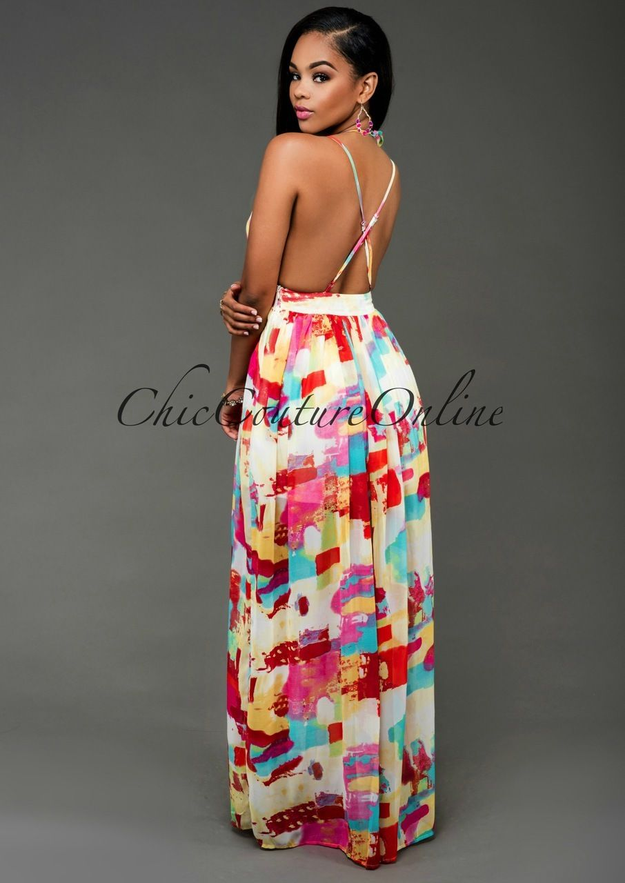 Karoll multicolor plunging v maxi dress can i wear this at my age
