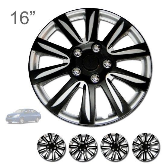 For Nissan New 16 Abs Black Rim Lug Steel Wheel Hubcaps Cover 546