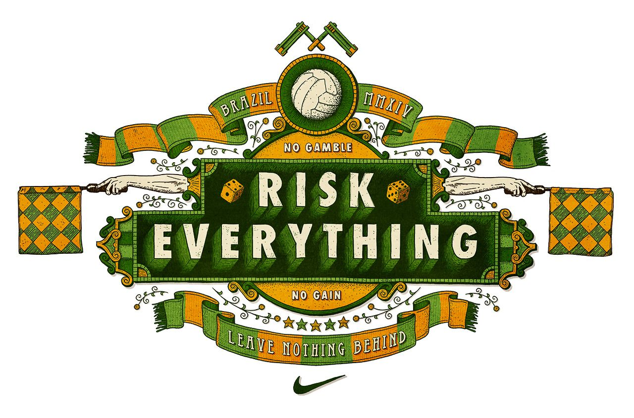 type-by-tobias:  My first bit of self initiated work for a while. I couldn't let the World Cup go by without making something football related, so I took inspiration from Nike's awesome #RiskEverything campaign and set about responding to it in my own way. Hope you dig it. www.tobias-hall.co.uk