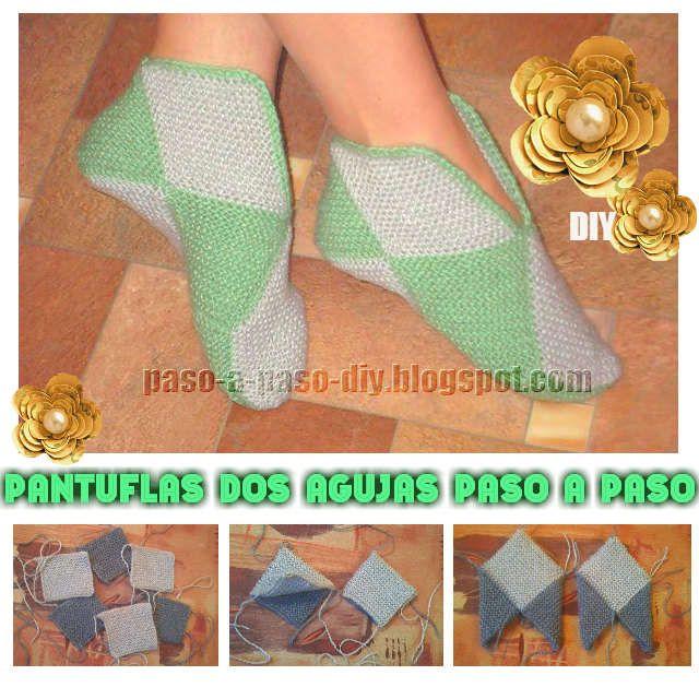 Cómo tejer patucos o pantuflas con dos agujas, en 8 cuadros, paso a ...