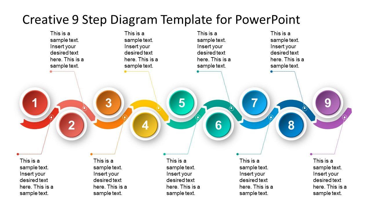 9 Steps Material Design Timeline Template Slidemodel Timeline Design Powerpoint Template Free Powerpoint Design Templates