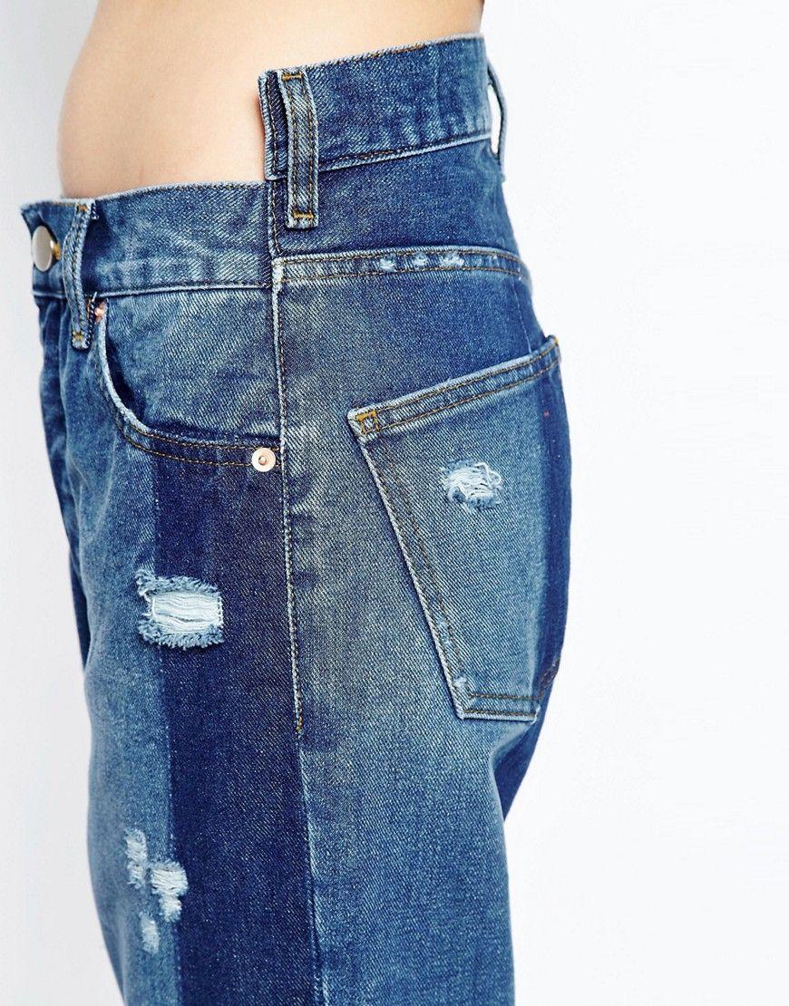 4ab88a4fff22 Image 3 of ASOS Denim Deconstructed Straight Leg Jeans   denim in ...