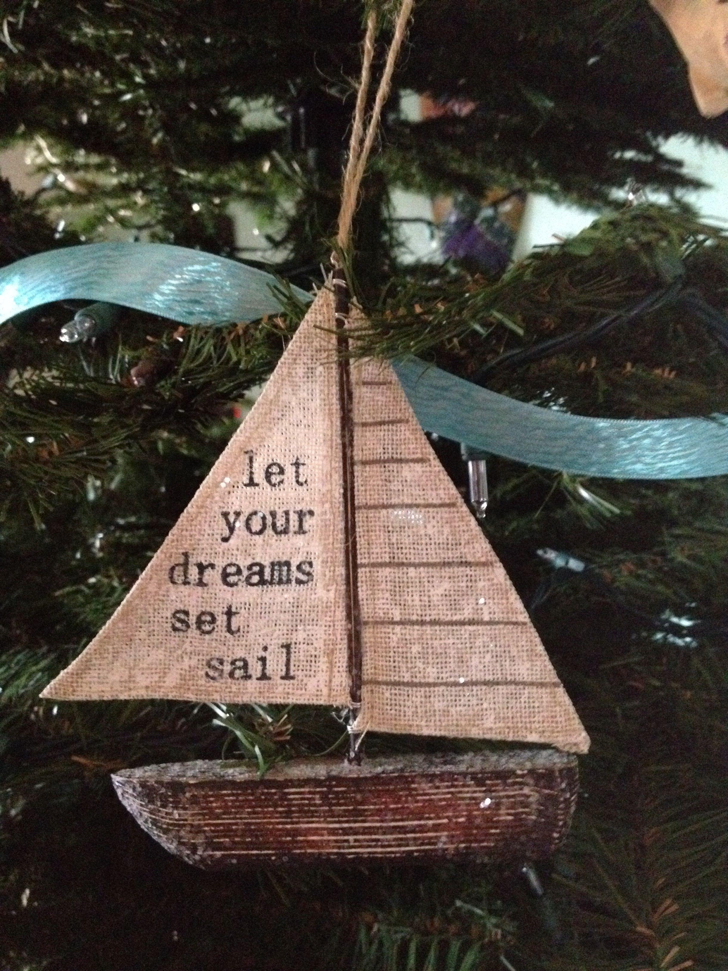 Let Your Dreams Set Sail Sailboat Ornament On My Coastal Christmas Tree Coastal Christmas Tree Coastal Christmas Decor Beach Christmas Decorations