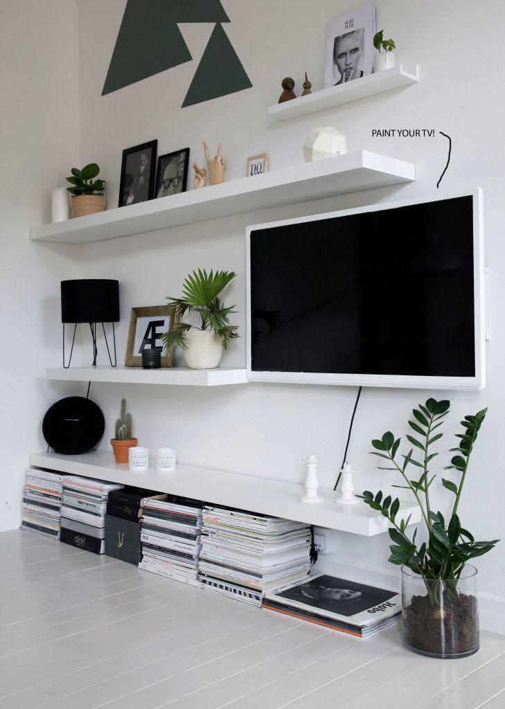 mix tv in with shelving tv ikea lack shelves lack. Black Bedroom Furniture Sets. Home Design Ideas