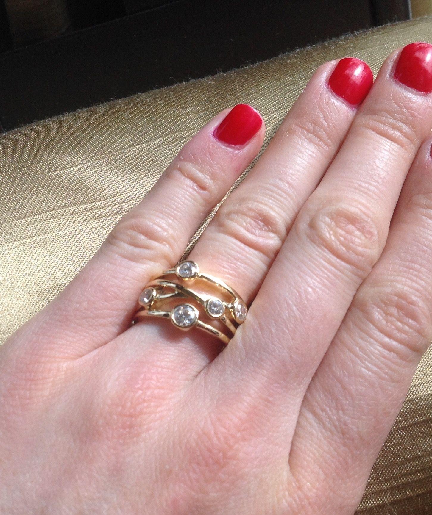 Yellow Gold 4 strand Diamond Ring. This yellow gold diamond ring ...