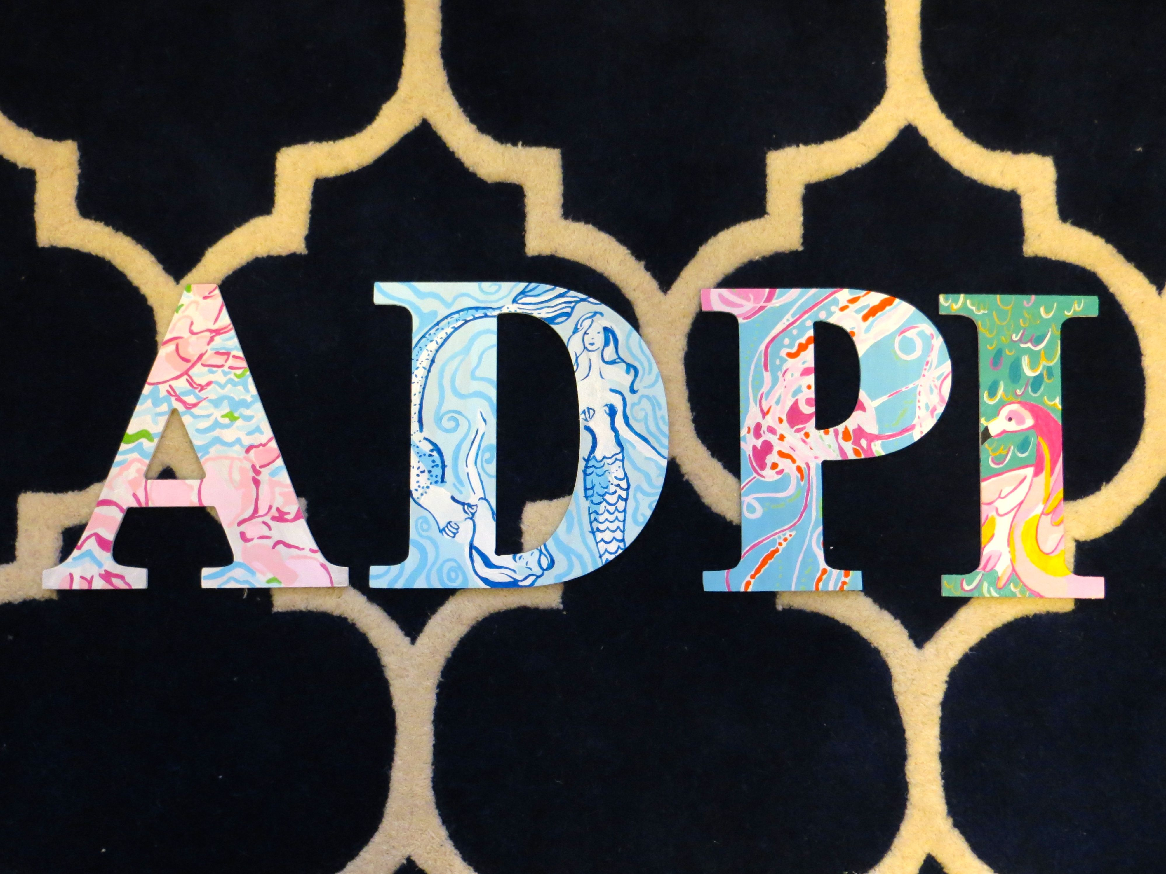Alpha Delta Pi Hand Painted Lilly Pulitzer Wooden Letters My My My