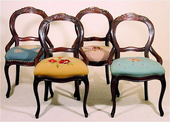 American Rococo Revival Balloon Back Chairs   C. 1840u0027s   Early Victorian    Set Of Four