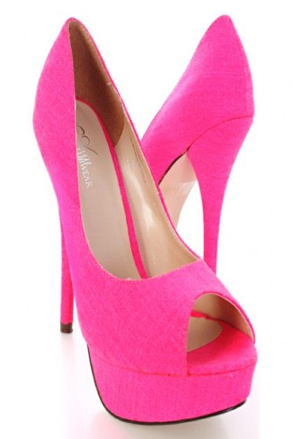Hot Pink Canvas Round Peep Toes Platform Heels Pumps / Sexy ...