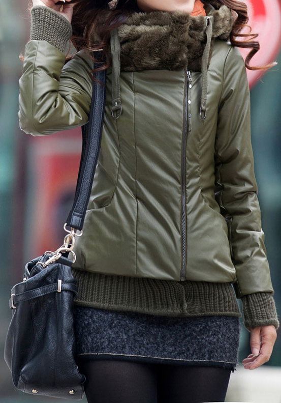 $26.80 Fashionable Style Long Sleeves Cotton Solid Color Hooded Zipper Coat For Women
