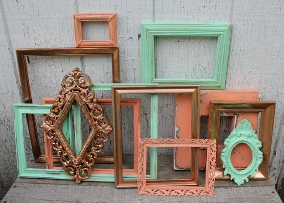 set of 12 painted frame gallery frame set coral mint and copper