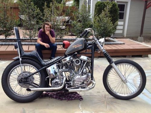 Panhead Hardtail Custom With Tall King Queen Seat Low Straight