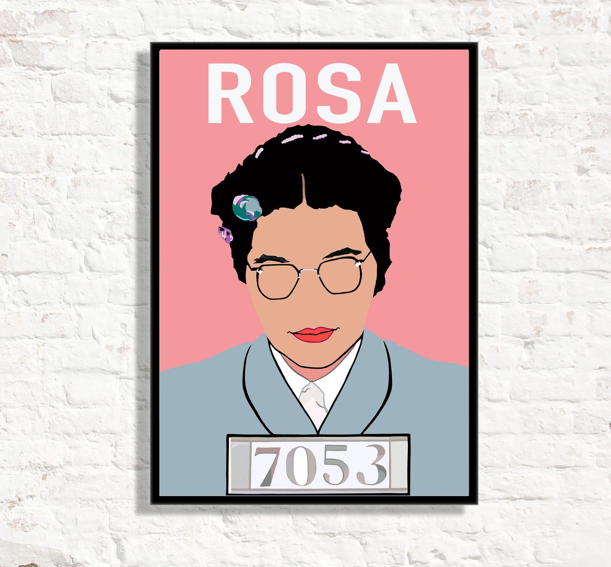 rosa parks print rosa parks poster pink