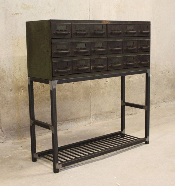 Bon Entry Table Vintage Parts Drawer With Square Tube Steel Legs And Smooth  Round Bar Shelf   Entry Tables, Drawers And Squares
