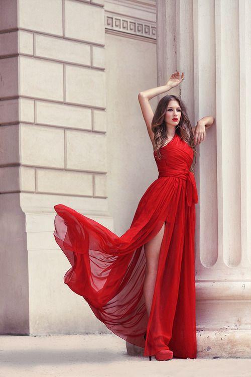 Red long dress tumblr