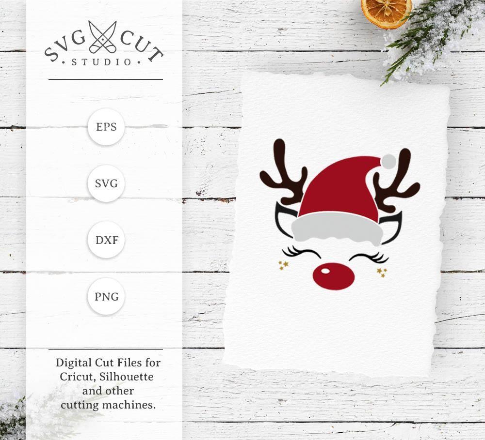 Reindeer Face with Santa hat svg files Reindeer face