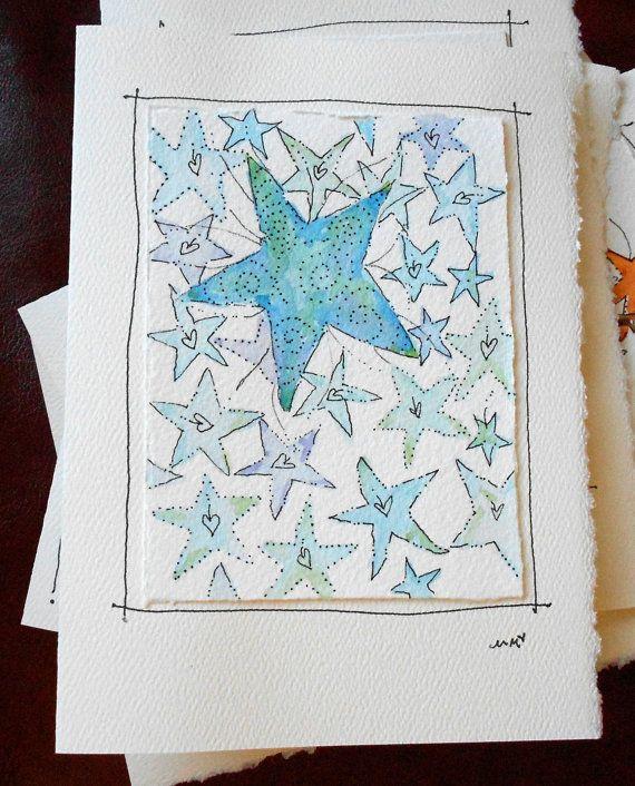star of wonder big card 5x7 watercolor original betrueoriginals watercolor originals and star. Black Bedroom Furniture Sets. Home Design Ideas