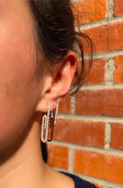 Diamond Paper Clip Earring Gold Bar