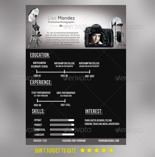 Simple photographer #Resume u2014 Photoshop PSD Resume Pinterest - photography resume template