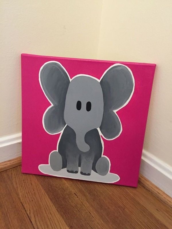 Easy Things To Paint On Canvas Canvas Painting Diy Kids Canvas Painting Elephant Painting Canvas