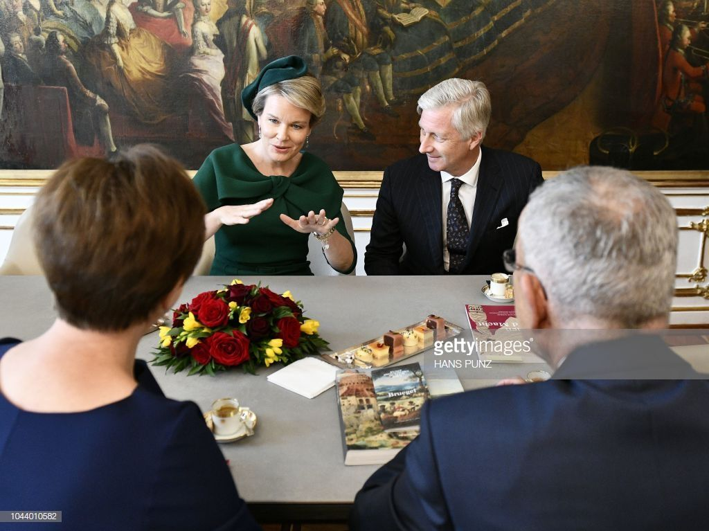 Queen Mathilde 2nd L And King Philippe 2nd R Of Belgium Speak