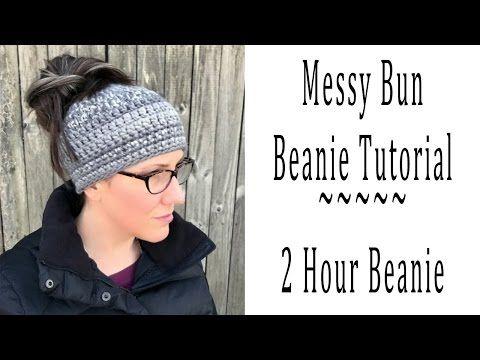 4b1947e7b09ec Crochet Messy Bun Beanie Hat ~ Super Easy 2 Hour Beanie - YouTube ...