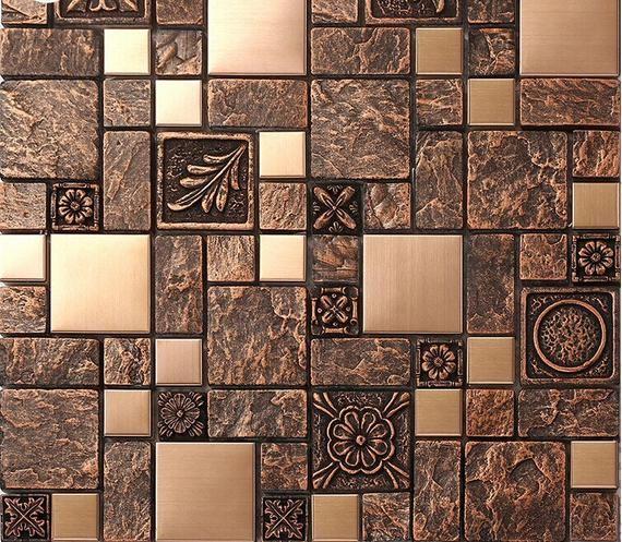 Linear Wall Tile Backsplash Gray Aqua Silver Etsy In 2020 Metal Mosaic Tiles Mosaic Tile Designs Metal Tile