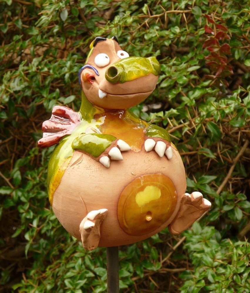 Gartenstecker Gartenkugel Beetstecker Drache Keramik