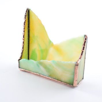 Modern business card holder unique office decor desktop modern business card holder unique office decor desktop accessories stained glass desk reheart Gallery
