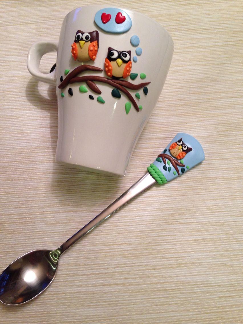 Baglyos szett   Mug decorated with polymer clay