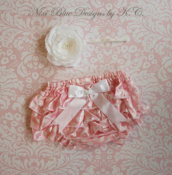 Pink ruffle Diaper cover and Headband SET by NixiBlueDesigns