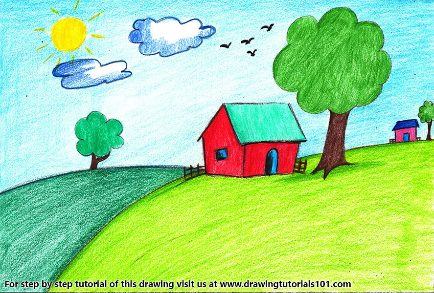 House Scenery for Kids (With images) | Easy cartoon ...