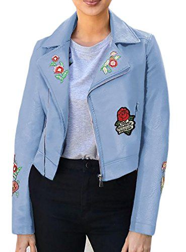 ouxiuli Womens Floral Print Bomber Jacket Slim Casual Zip up Baseball Outwear