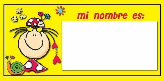 Gafetes escolares para imprimir gratis buscar con google - Cuadros originales para bebes ...