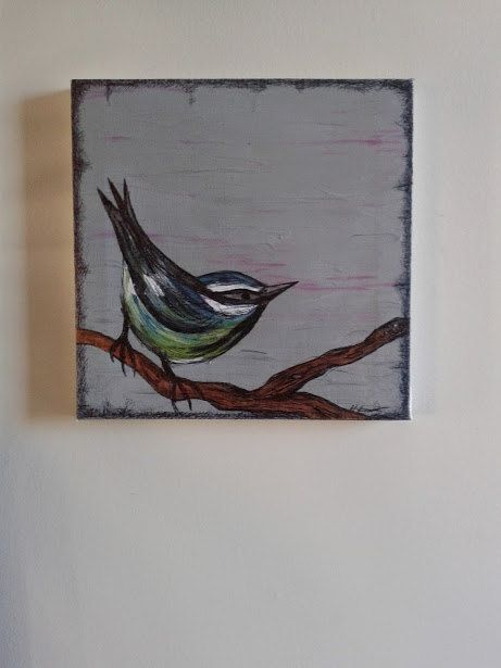 Blue Tit Original Painting on Canvas by HayleysDream on Etsy, £18.00