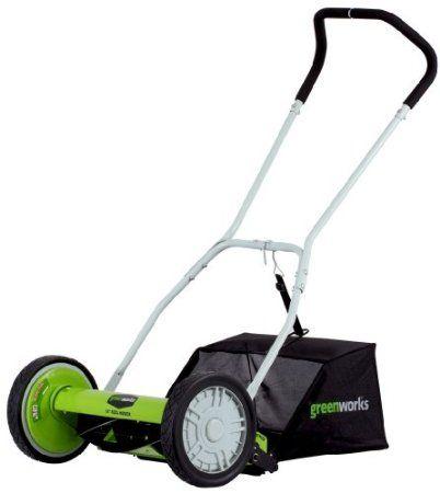 Greenworks 25052 16 Inch 5 Blade Push Reel Lawn Mower With Grass Catcher Best Lawn Mower Grass Mower