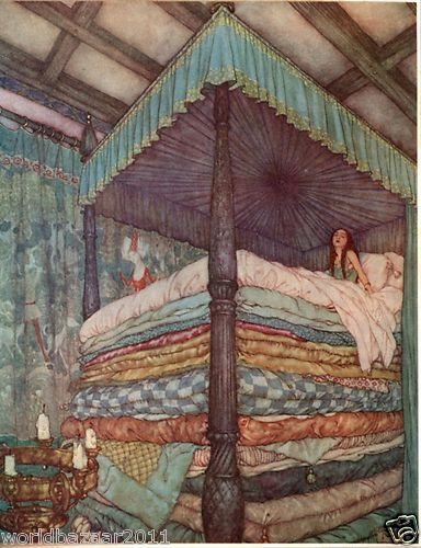 I've always felt like I'm about as sensitive as the princess in this fairytale! EDMUND DULAC PRINT THE PRINCESS AND THE PEA FAIRYTALE HANS CHRISTIAN ANDERSON