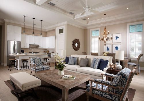 Open Space Floor Plans Small Kitchen Beach Style Living
