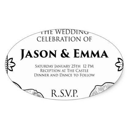 Roses Wedding Invite Invitation Template Oval Sticker - wedding