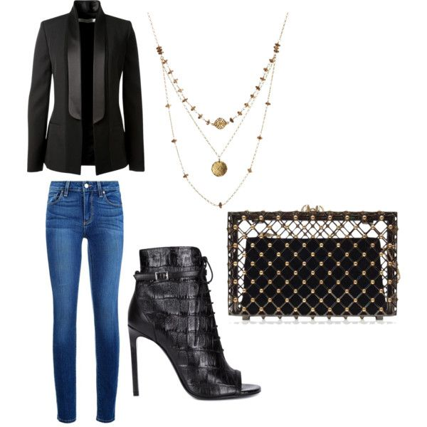 girls night out by aquinteros on Polyvore featuring polyvore fashion style Victoria Beckham Paige Denim Yves Saint Laurent Charlotte Olympia Alicia Marilyn Designs