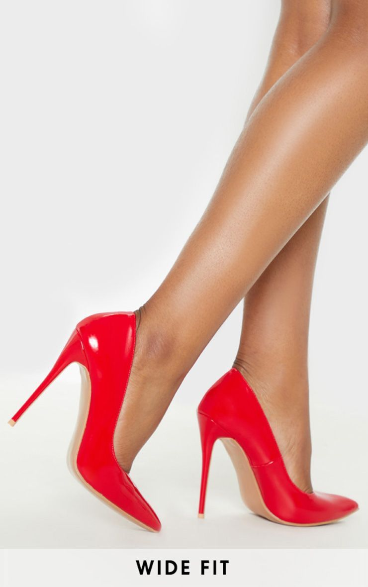 Red Wide Fit Court Shoes | Red court